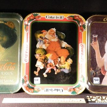 "1913 Hamilton Girl tray ""Original"" tray,1980 Santa Claus tray,1973 repo,of 1925 Party Girl Tray - Coca-Cola"