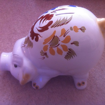 piggy bank with flowers on