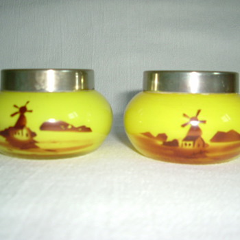 Czech Art Deco Tango Glass Open Salts