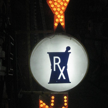 RX - Pharmacy 1940's Vaccum foam Back-Lit Lighted sign