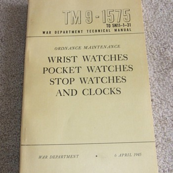 WW2 Manintenance Manual for Watches and Clocks