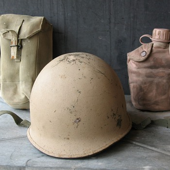 IRAQI M1 Steel Helmet & web gear - Military and Wartime