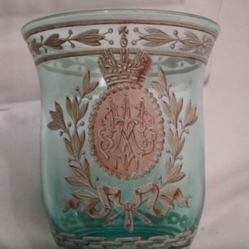 Wedding Souvenir beaker for Tsar Nicholas & Tsarina Alexandra - Art Glass
