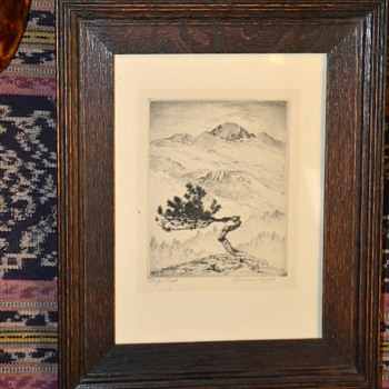 Lyman Byxbe Etching of Longo Peak - Posters and Prints