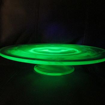 Vintage Uranium / Vaseline Glass Cake Stand - Glassware