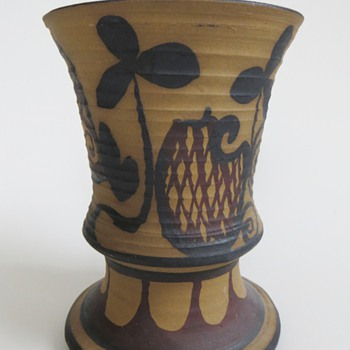 Pottery Vase, Unglazed Exterior w/Folk? Painted Design~Nice, Unknown, Signature - Art Pottery
