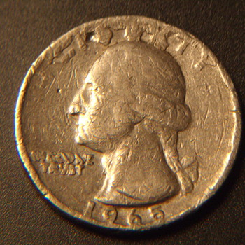 1965 us quarter no copper plain edge 5.5gr - US Coins