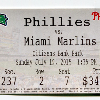 Phillies Baseball Ticket 2015...