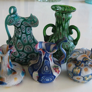 5 small Murano Millefiori Vases - Art Glass