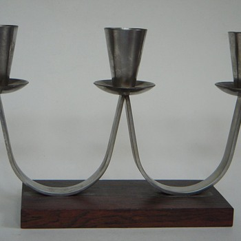 Mid Century Danish Candlestick~Stainless Mounted on Rosewood~Mrkd MG,...Familiar?