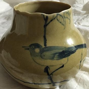 Little blue bird vase - Pottery