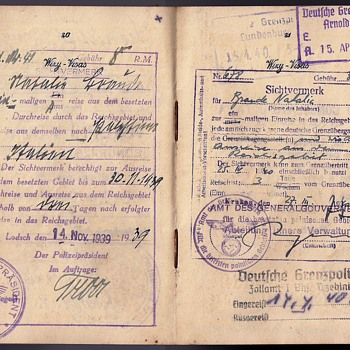 Exit visa from occupied Poland to a Jewish holder living inside the Ghetto
