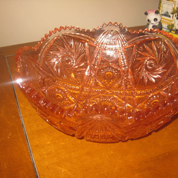 Antique  American Brilliant Cranberry Cut Glass Bowl By Libbey