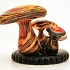 Psychedelic Magic Mushroom Art Glass Sculpture