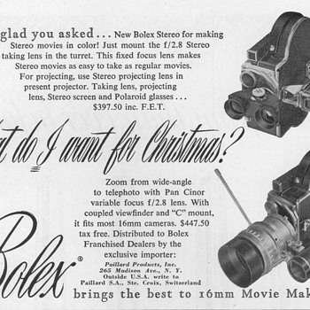 1952 - Bolex Camera Lenses Advertisement