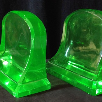 Cambridge Glass Art Deco bookends