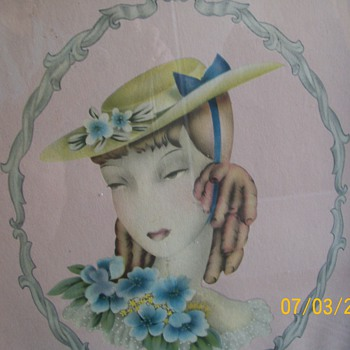1940-50s Lady Lithograph Print #2 - Posters and Prints
