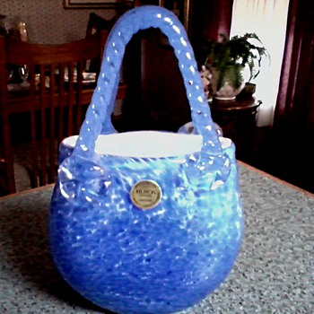 """Block"" Crystal /Hand Made Blown Glass Purse Vase/ Blue Confetti Design/ Circa 19??-20??"
