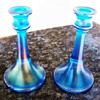 Northwood Stretch Glass Sapphire Blue Trumpet Candle Stick Holders