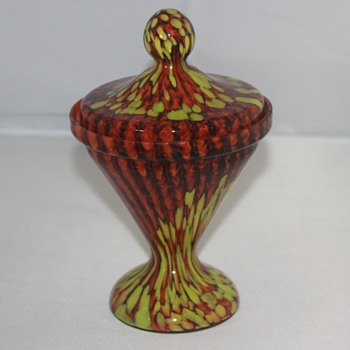 Welz? Covered Candy Dish - Art Glass