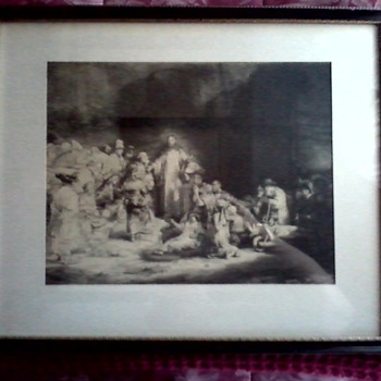 "Rembrandt Engraving ""Christ Preaching"" AKA ""The Hundred Guilder Print""/ Unknown Printer and Age - Posters and Prints"