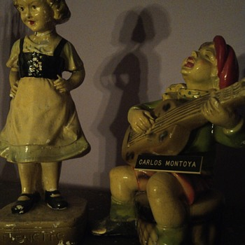 Glazed Nenette and Guitar player chalkware