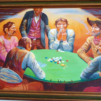 "1968 Robert Freeman oil painting, 38"" X 21"" Poker"