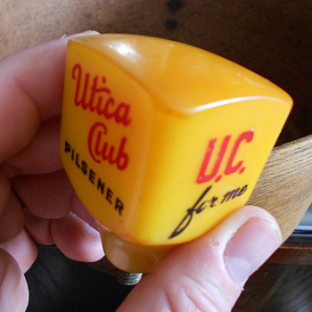 Old old square butterscotch bakelite Utica Club U.C. for me tap handle - Breweriana