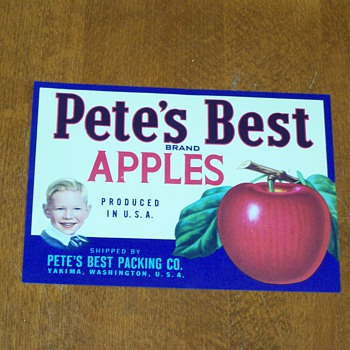 (NOS) New Old Stock - Pete's Best Apples Fruit Crate Label - Advertising