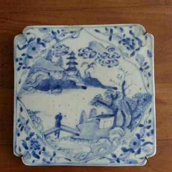 Chinese white blue porcelain tile, plaque - Asian