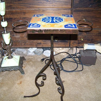 Old D&amp;M Pottery Tiletop Wrought Iron Sidetable - Furniture