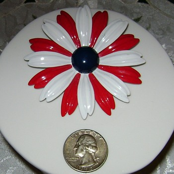 Red, White and Blue Flower Pin - Costume Jewelry