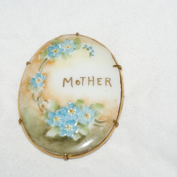 Hand-Painted Porcelain Brooch - Victorian?