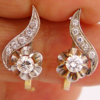 Antique Victorian Diamond 14k Earring 1.25ctw Russian