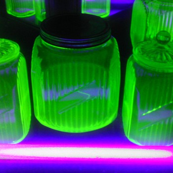 Set of 3 Green Uranium Canister Jars