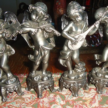 Four Baby Angel Musicians!  John, Paul, George, and Ringo!! - Figurines