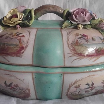 Meissen Blank Mark? Turquoise Tureen with Italian Capodimonte Style Relief Flowers