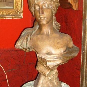 Plaster Gypsy Bust of a Boy Garage Sale Find