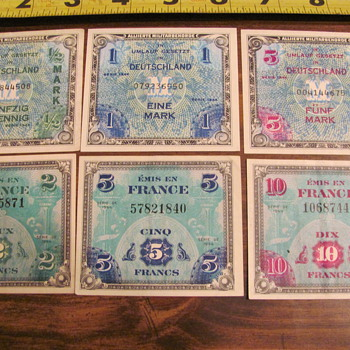 all bills dated 1944, German marks &amp; French frances - Paper