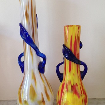 Two Art Deco spatter vases with applied leaves