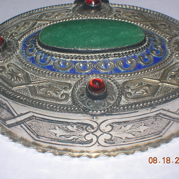 Antique 1880's inlaid german slver box - Silver