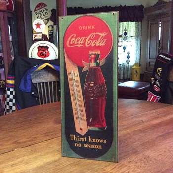 1944  Masonite Coca-Cola thermometer  - Coca-Cola