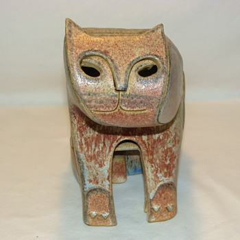 Vintage Mid Century Studio Art Pottery Cat - Art Pottery