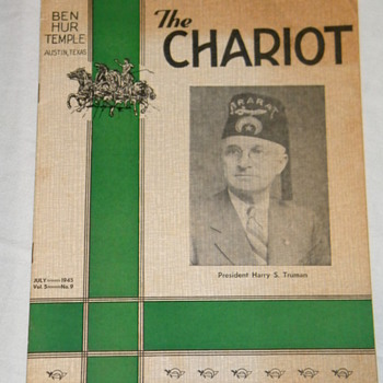 "1945 ""The Chariot"" Shriner Publication; Harry S. Truman Cover - Paper"