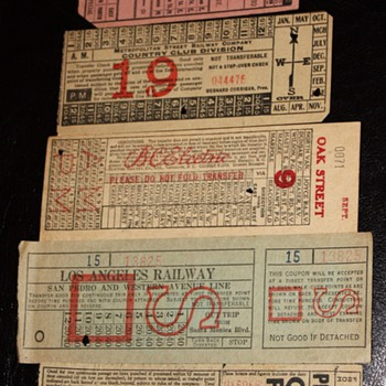 Streetcar Tickets from around 1915 - Honolulu, Los Angeles, Chicago, Hong Kong, Paris, etc...