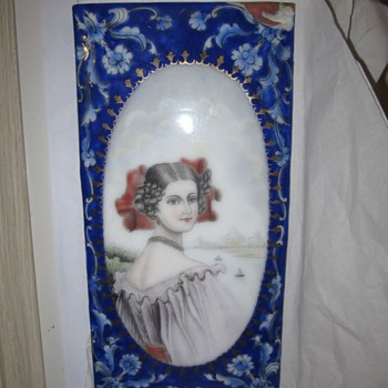 Antique English or India Enamel on Copper Plate Unknown Mystery