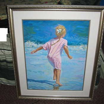 Girl on the Beach Watercolor Print!! - Lindsay Dawson