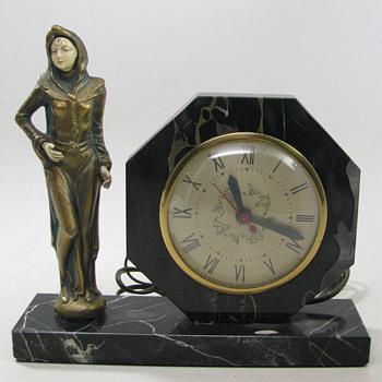 J B Hirsch Standing Deco Lady Clock, 1923 - Art Deco