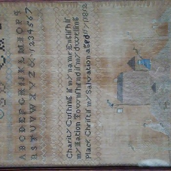 Old Sampler, date dated 1812, framed and in good condition. Brought over or sewn on the way to US.