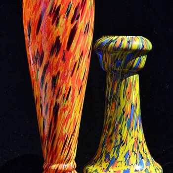 Czechoslovakian spatter vases - Art Glass